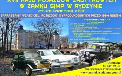 XVII Rajd Pojazdów Zabytkowych wZamku SIMP wRydzynie